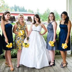yellow, blue, grey wedding palette | weddinggawker
