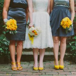 grey and yellow retro wedding