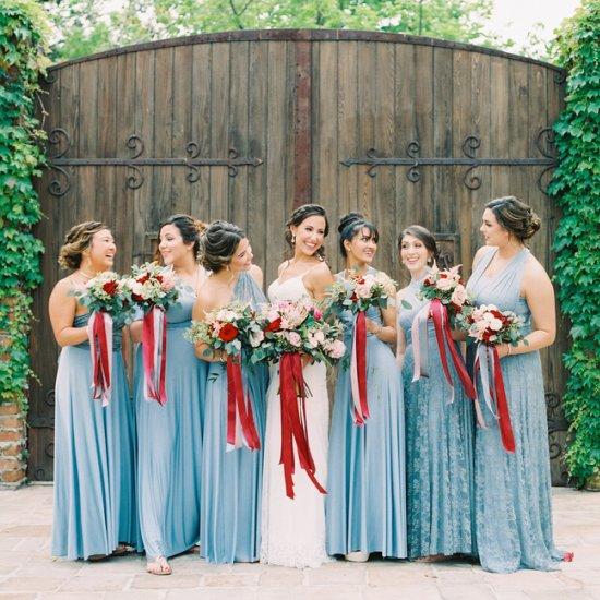 Red Dusty Blue Wedding