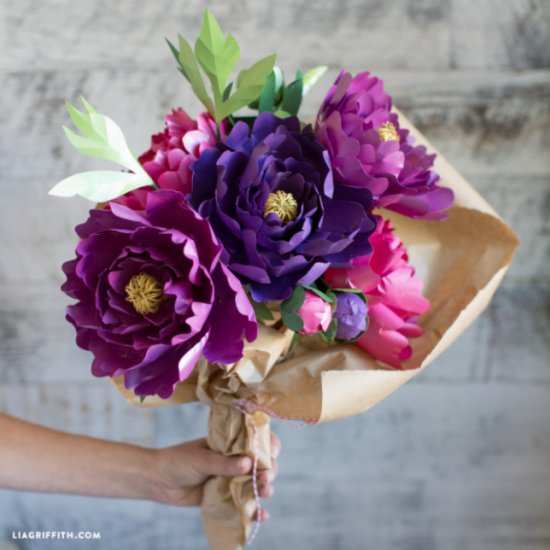 Diy paper peony flower bouquet weddinggawker diy paper peony flower bouquet mightylinksfo