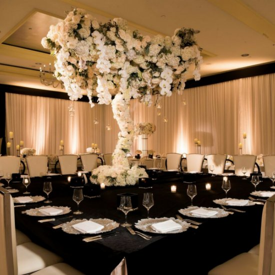 modern wedding decor.  Magical Ritz Carlton Reception mid century modern wedding decor weddinggawker