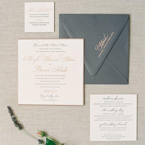 Invitations gallery weddinggawker 7 stunning metallic stationery suit stopboris Images